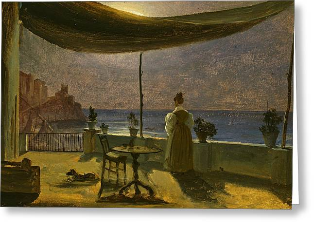 A Terrace In Amalfi In Moonlight Greeting Card