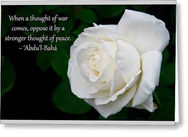 A Thought Of Peace Greeting Card by Baha'i Writings As Art
