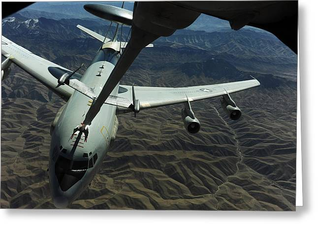 Kc Greeting Cards - A U.s. Air Force E-3 Sentry Aircraft Greeting Card by Stocktrek Images