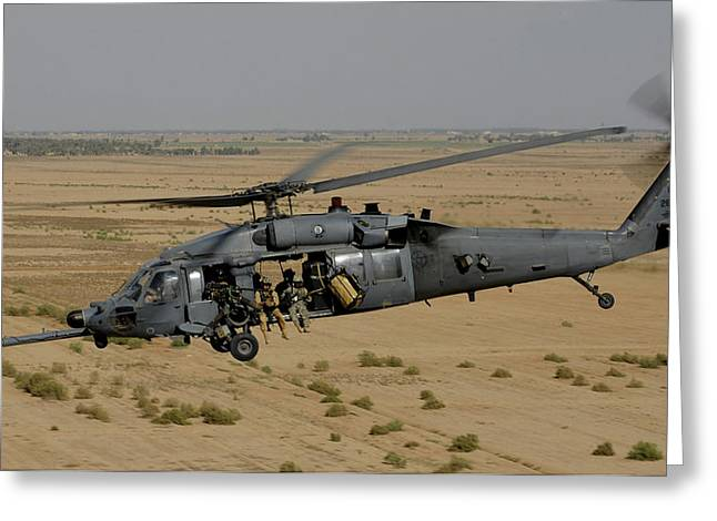 A U.s. Air Force Hh-60 Pavehawk Flies Greeting Card