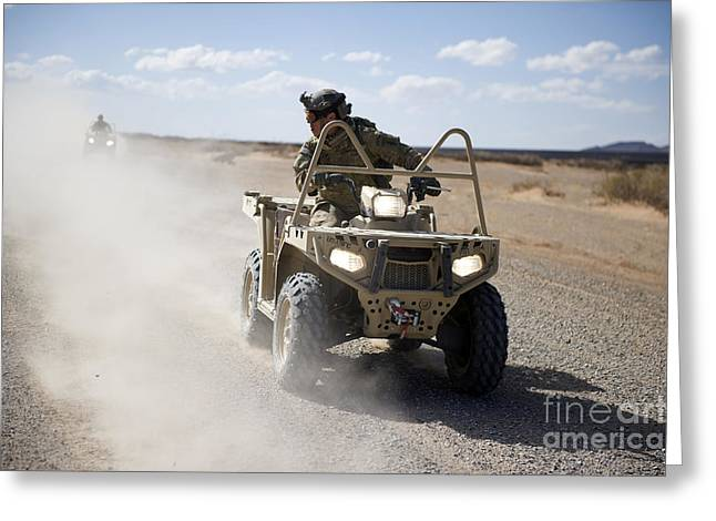 A U.s. Soldier Performs Off-road Greeting Card by Stocktrek Images