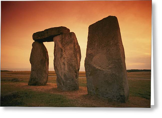 A View Of Stonehenge In The Early Greeting Card by Richard Nowitz