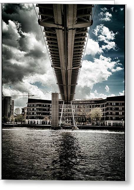 A Water Skier Speeds Past The Royal Victoria Dock Bridge Greeting Card