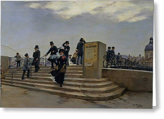 A Windy Day On The Pont Des Arts Greeting Card by Jean Beraud