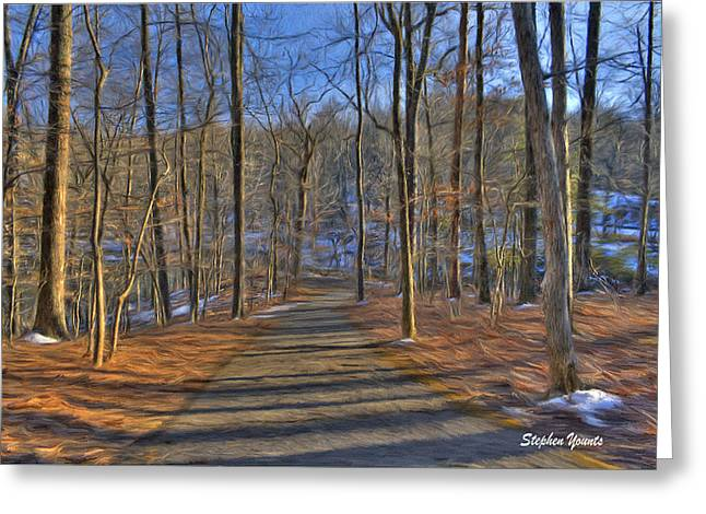 A Winter's Walk Greeting Card by Stephen Younts