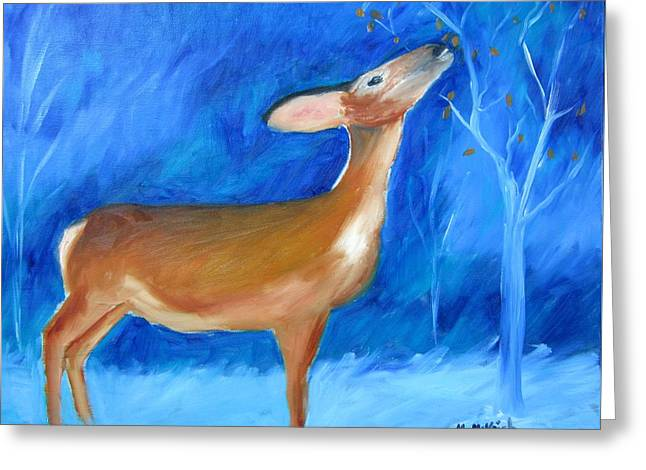 Wintry Greeting Cards - A Wintry Night Greeting Card by Marita McVeigh