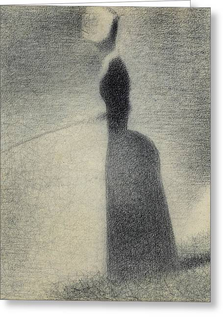 A Woman Fishing Greeting Card by Georges-Pierre Seurat