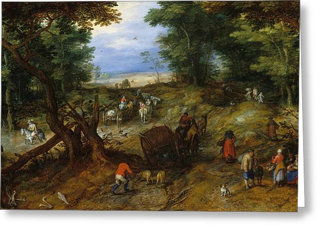 A Woodland Road With Travelers Greeting Card by Jan Brueghel the Elder
