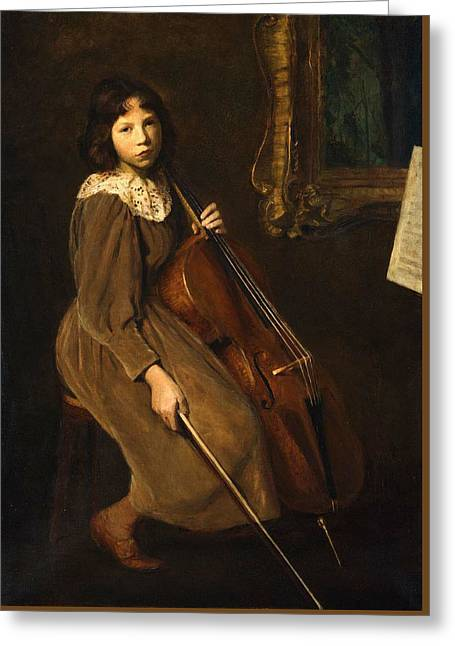 A Young Violoncellist Greeting Card