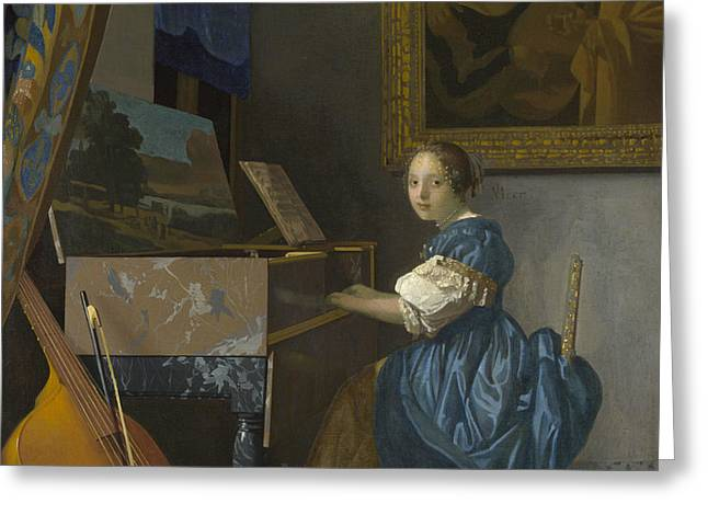 A Young Woman Seated At A Virginal Greeting Card by Johannes Vermeer