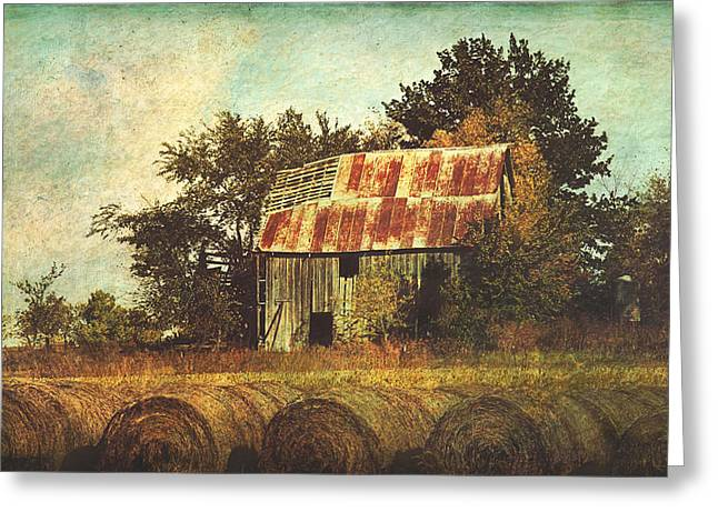 Abandoned Countryside Barn And Hay Rolls Greeting Card