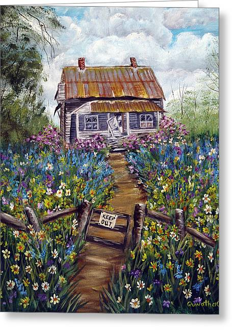 Greeting Card featuring the painting Abandoned House by Quwatha Valentine