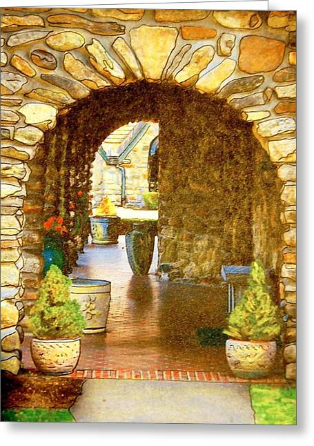 Abbey Stone Arch Greeting Card by Linda Bourie