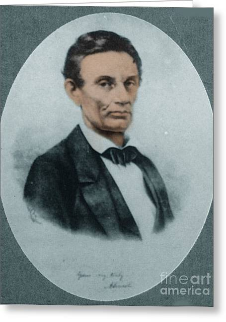 American Politician Greeting Cards - Abraham Lincoln, 16th American President Greeting Card by Science Source