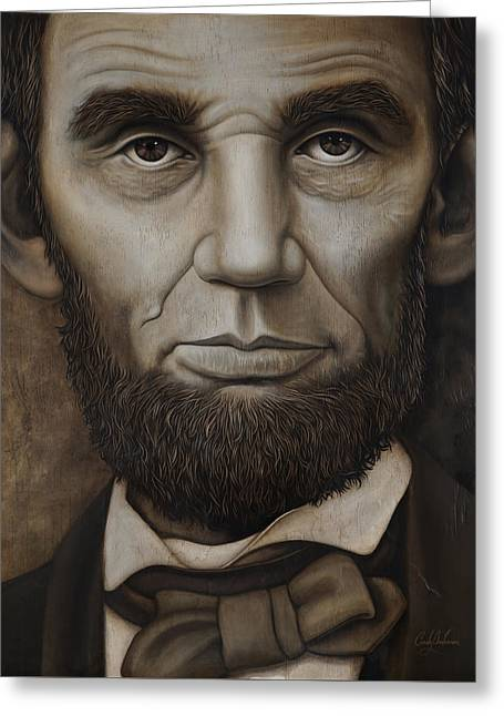 Abraham Lincoln On Wood Greeting Card by Cindy Anderson
