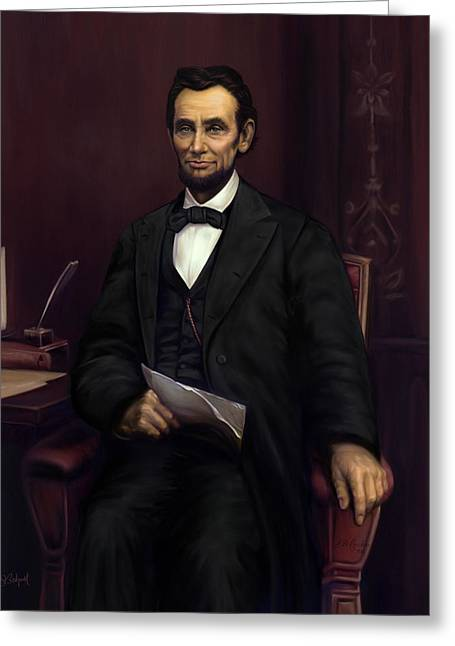 Abraham Lincoln  Greeting Card by Sue  Brehant