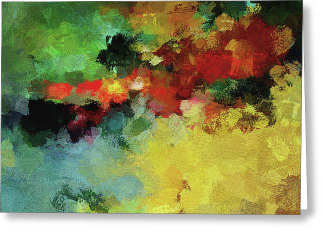 Greeting Card featuring the painting Abstract And Minimalist  Landscape Painting by Ayse Deniz