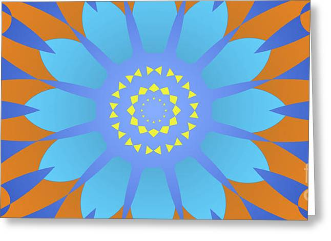 Abstract Blue, Orange And Yellow Star Greeting Card