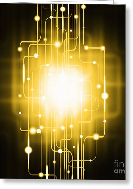 Glowing Greeting Cards - Abstract Circuit Board Lighting Effect  Greeting Card by Setsiri Silapasuwanchai