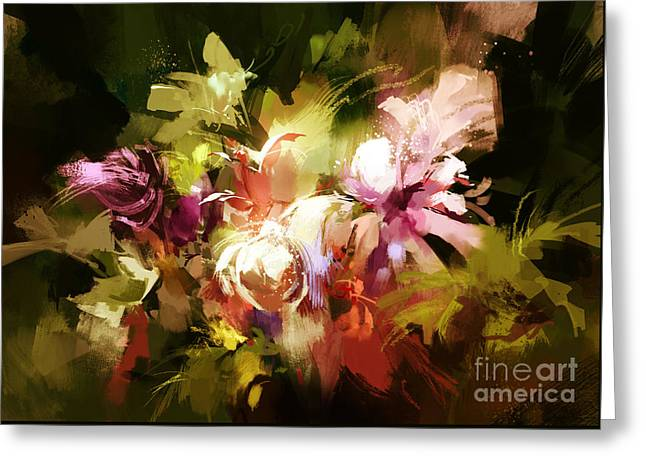 Greeting Card featuring the painting Abstract Flowers by Tithi Luadthong