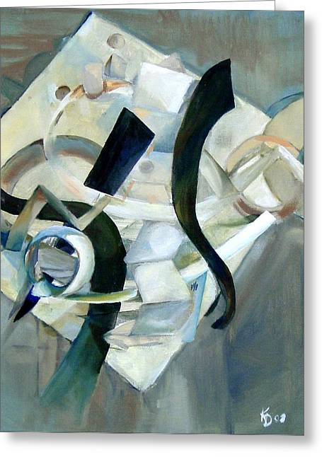 Abstract In Gray Greeting Card by Kathy Dueker