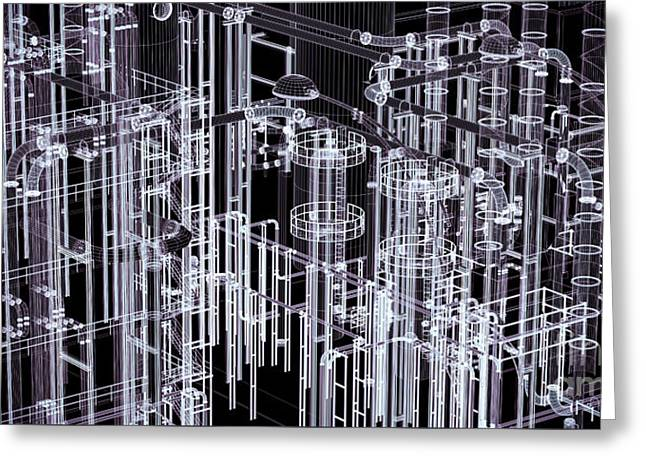 Abstract Industrial And Technology Banner Background Greeting Card by Michal Bednarek