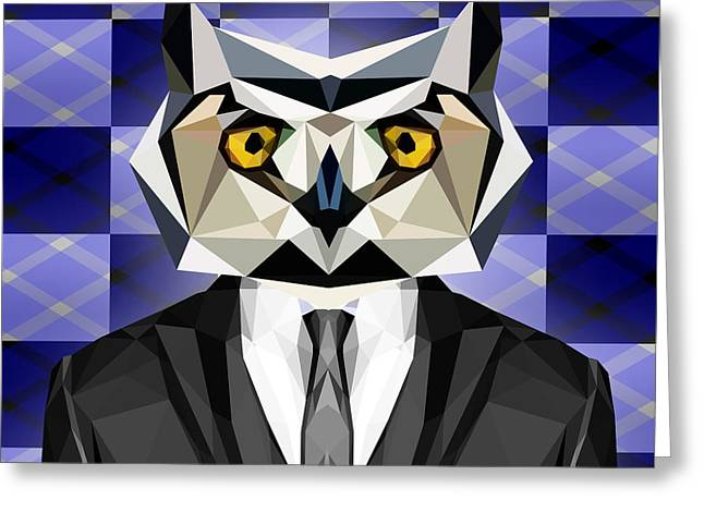 Abstract Owl Greeting Card by Gallini Design
