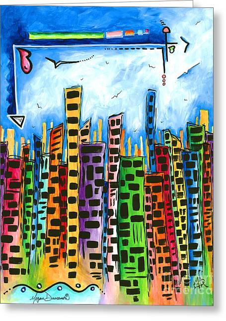 Abstract Pop Art Style Unique Cityscape Skyline Painting By Megan Duncanson Greeting Card by Megan Duncanson