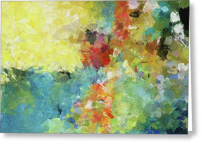 Greeting Card featuring the painting Abstract Seascape Painting by Ayse Deniz