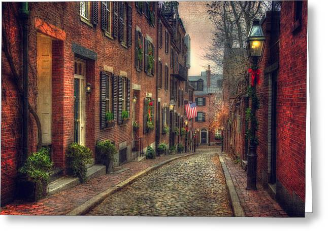 Acorn Street - Boston Greeting Card