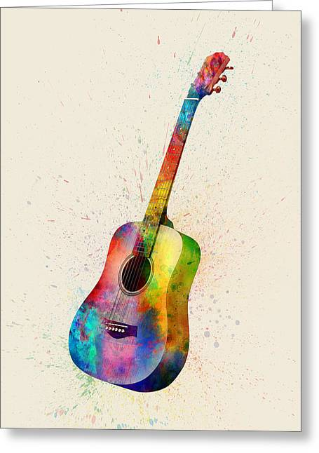 Acoustic Guitar Abstract Watercolor Greeting Card by Michael Tompsett