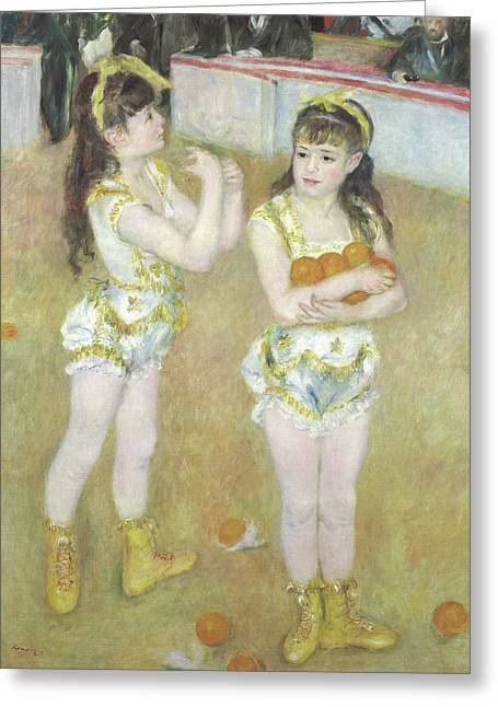 Acrobats At The Cirque Fernando, Francisca And Angelina Wartenberg Greeting Card by Pierre Auguste Renoir