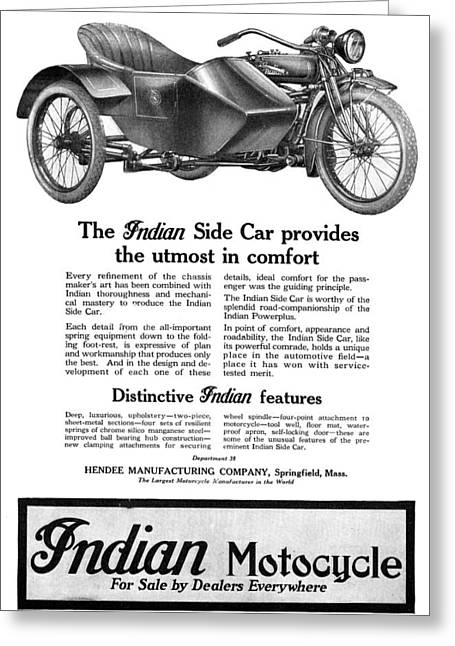 Ad: Indian Motocycle, 1920 Greeting Card by Granger