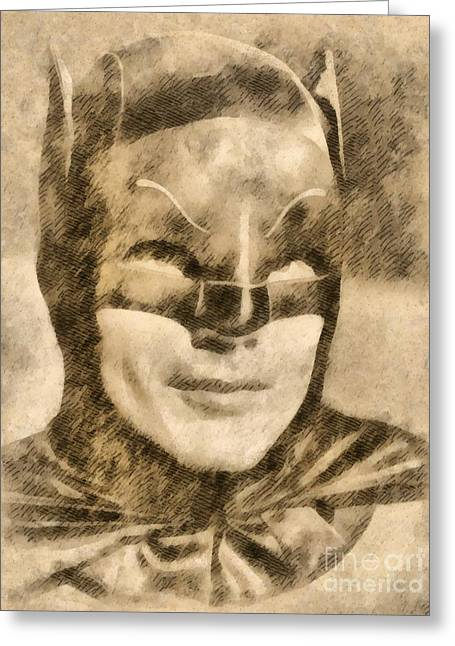 Adam West As Batman Greeting Card by John Springfield