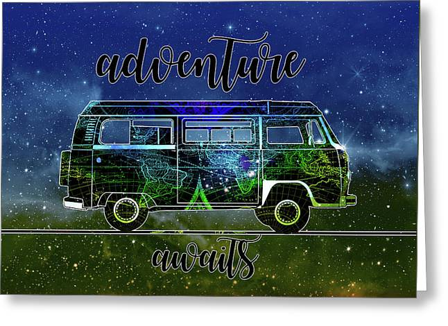 Adventure Awaits World Map Design 6 Greeting Card