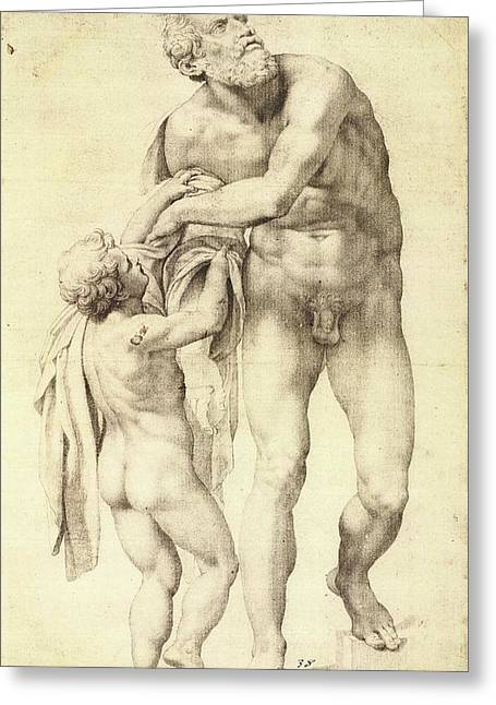 Aeneas With A Boy Greeting Card by Michelangelo Buonarroti