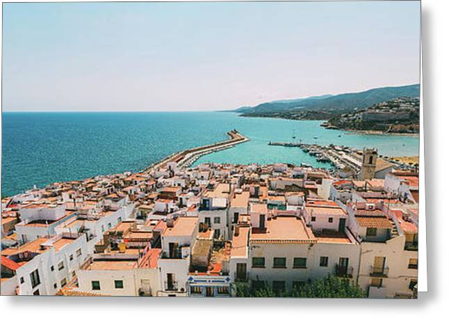 Aerial Panoramic View From Papa Luna Castle Of Peniscola City In Spain Greeting Card