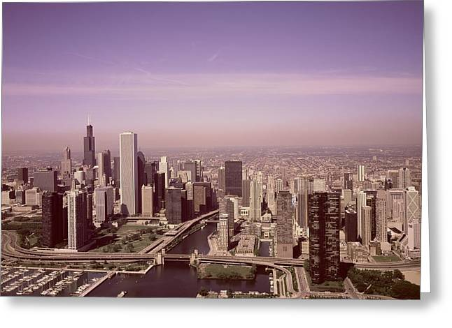 Aerial View Of Chicago, Illinois. The Black Skyscraper Is Willis Tower, A Chicago Landmark,  Highsmi Greeting Card