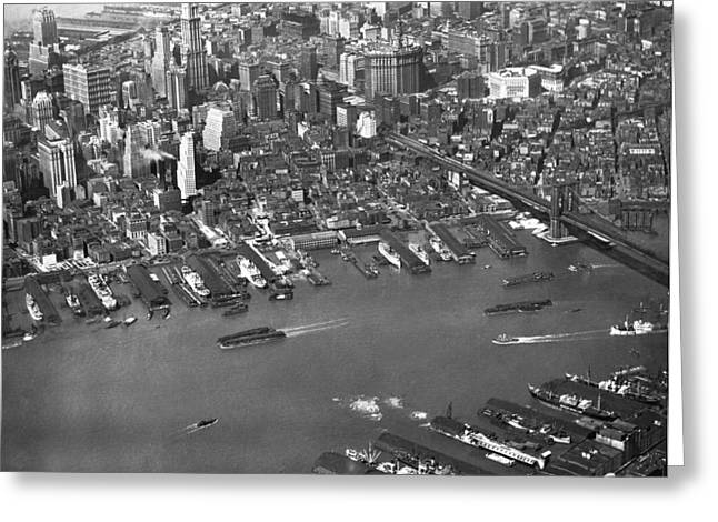 Aerial View Of Lower Manhattan Greeting Card