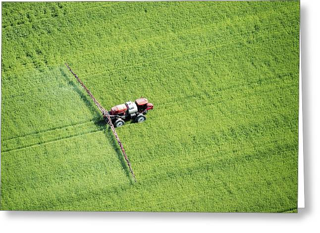 Aerial View Of Spray Application Greeting Card by Remsberg Inc