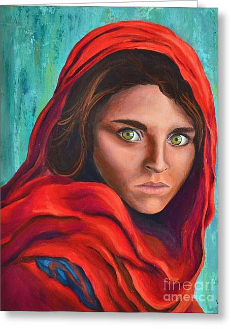 Cover The Face Greeting Cards - Afghan Girl Greeting Card by Cristina Gosserez