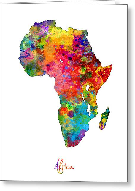 Africa Watercolor Map Greeting Card