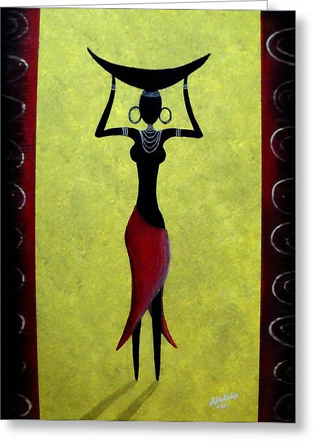Greeting Card featuring the painting African Beauty by Edwin Alverio