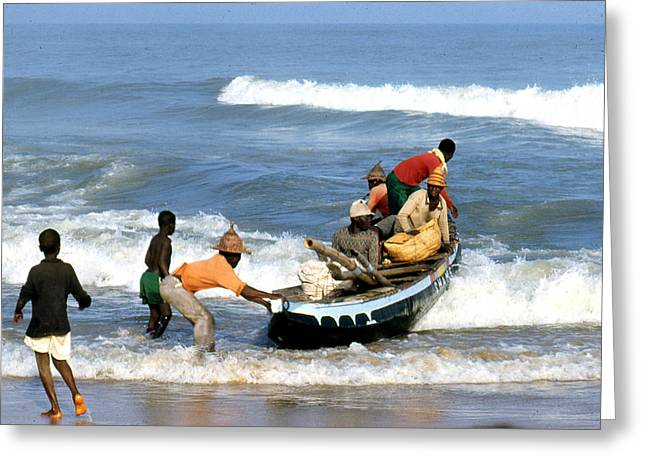 African Fishermen 1971 Greeting Card by Erik Falkensteen