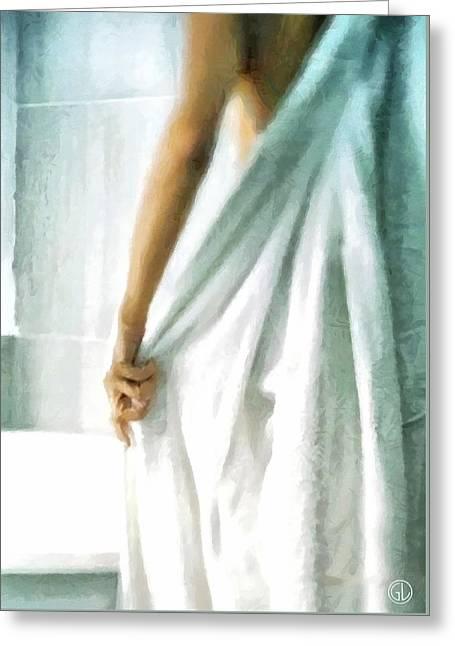 Greeting Card featuring the digital art After The Bath by Gun Legler
