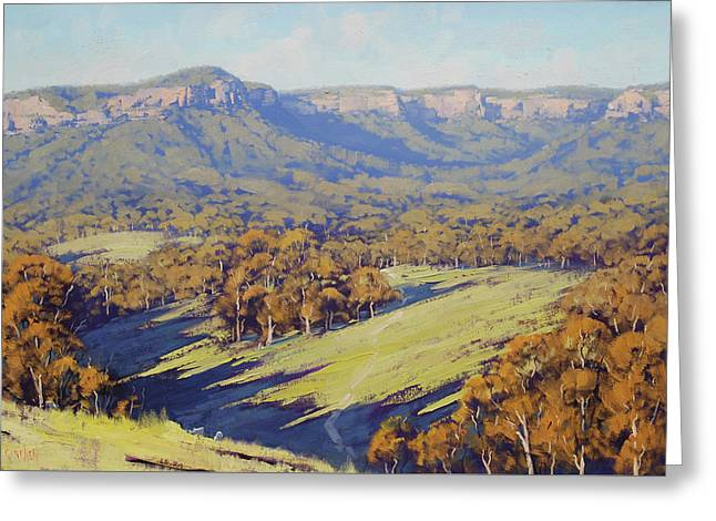 Afternoon Light Megalong Valle Greeting Card by Graham Gercken