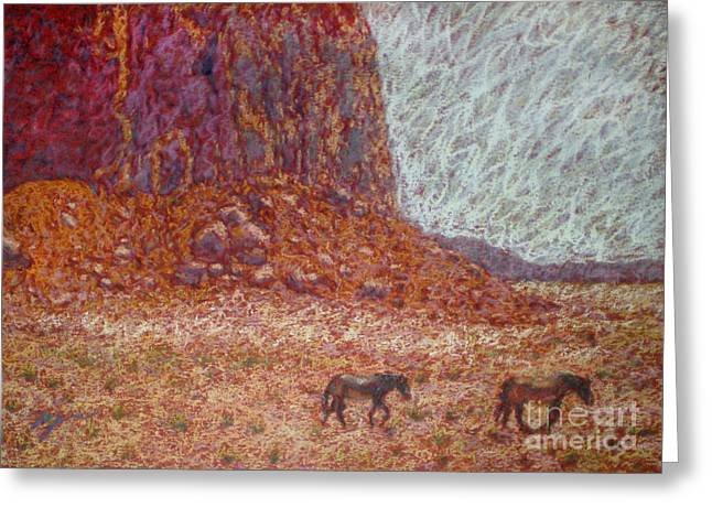 Wild Horse Pastels Greeting Cards - Afternoon Greeting Card by Suzie Majikol-Maier