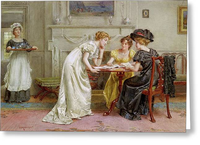 Afternoon Tea Greeting Card by George Goodwin Kilburne