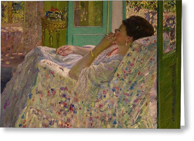 Afternoon - Yellow Room Greeting Card by Frederick Carl Frieseke
