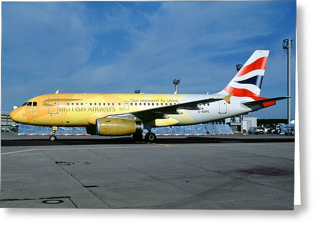 Airbus A319-131, British Airways, G-eupc, Olympic Torch Relay, O Greeting Card by Wernher Krutein
